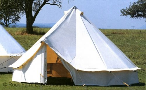 Our luxury Bell tents are round canvas tents with a pitched roof