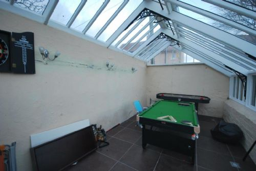 Pool table in conservatory