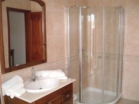 A powerful corner shower in the master ensuite