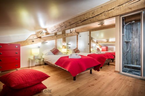 Attic twin/double bedroom (limited head height), with built-in wetroom shower & WC