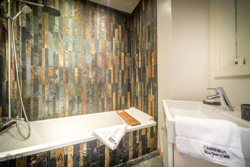 Ensuite bath / shower with designer tiling (separate WC adjacent to bedroom)