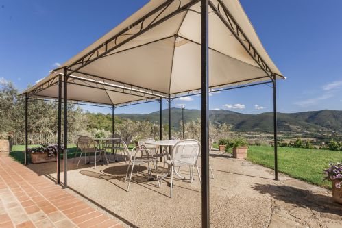 Pergolas, on the fron lawn. THe house is surrounded by olive groves and natural beauty