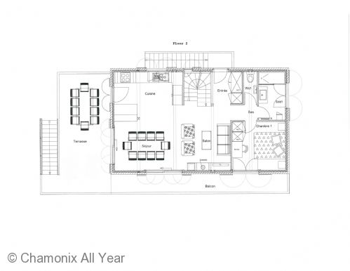 Floor plan of the main level of the chalet