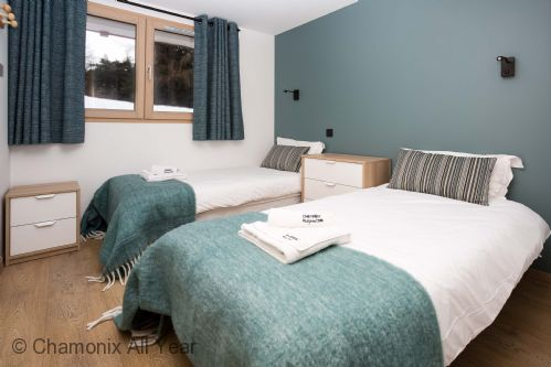 First twin bedroom on lower ground floor