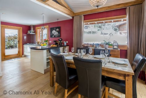 Spacious dining area and modern fitted kitchen