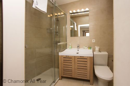 Ensuite bathroom has shower and vanity lights over mirror