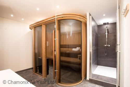 The sauna room on the lower ground floor also has a shower and double sinks