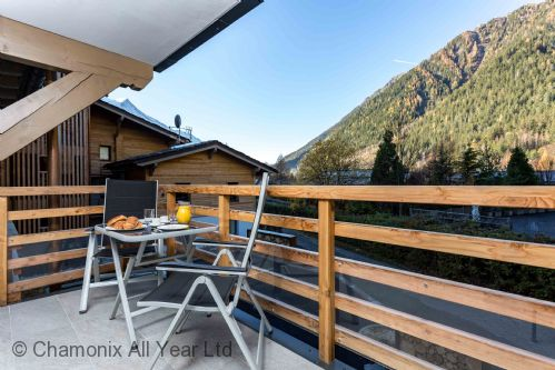 Beautiful balcony has mountain views of Brevent and Flegere