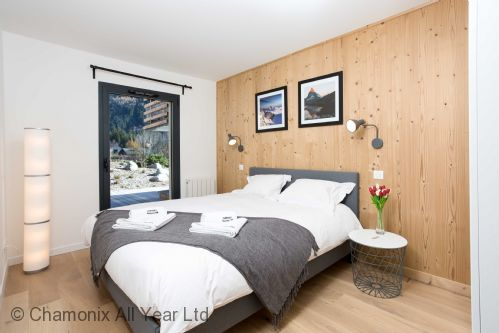 Master bedroom with direct terrace access & double bed