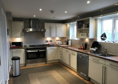 Large kitchen at rear of property