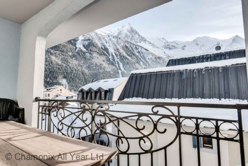 Large second balcony has Mont Blanc views