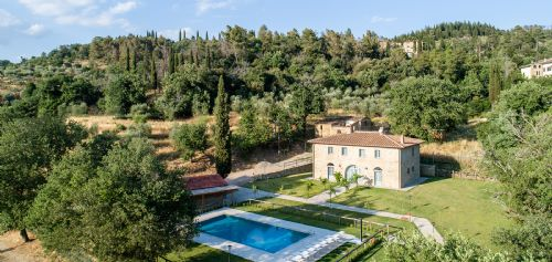 Pool , gardens and the villa