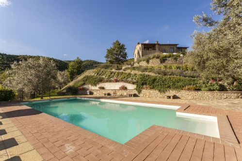 Poolside with the villa and garden surrounds