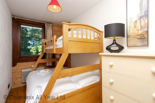 Second bedroom with double and bunk bed