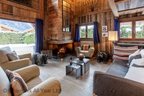 Living room with log fire
