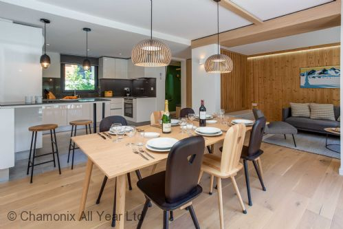 Open plan kitchen with living dining room