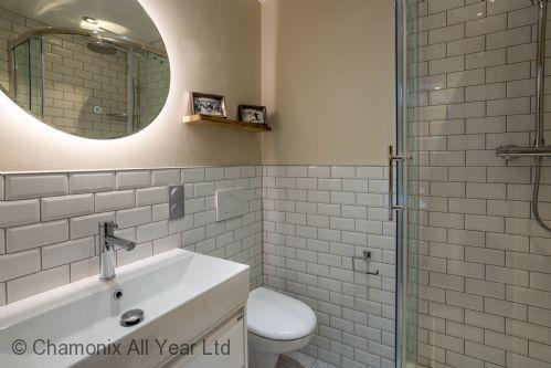 Ensuite for Master Bedroom, shower, sink and toilet
