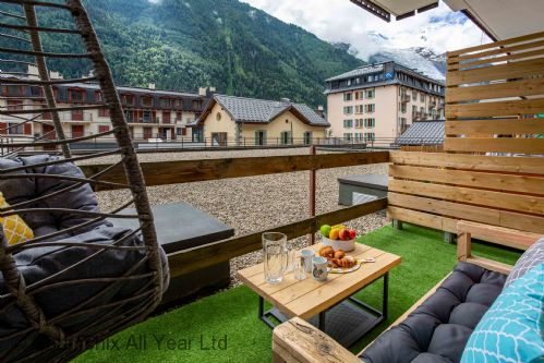 Beautiful balcony with Mont Blanc views