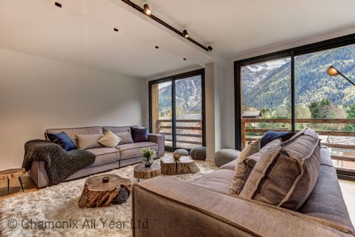 Open plan living room with 2 comfortable sofas