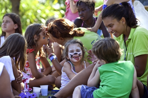 Face painting at the mini club