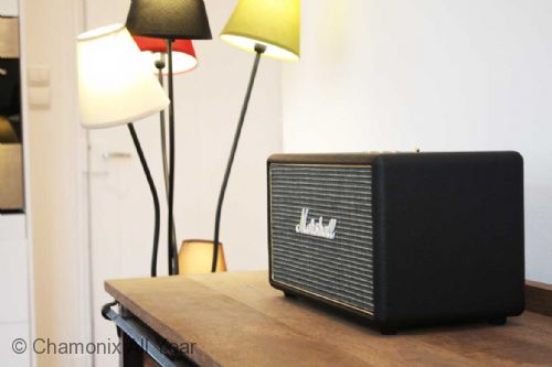 Marshall speakers and stylish furnishings