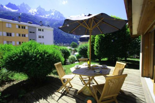 Sunny terrace with views of Mont Blanc