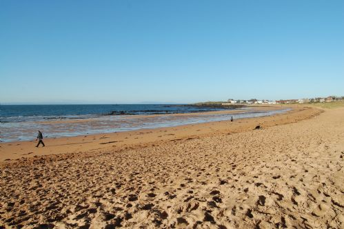 Sandy beach paces from the house