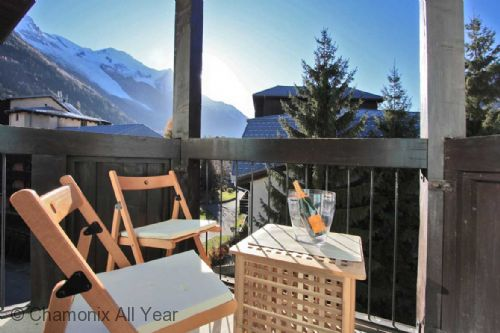 Sunny balcony has views of Mont Blanc
