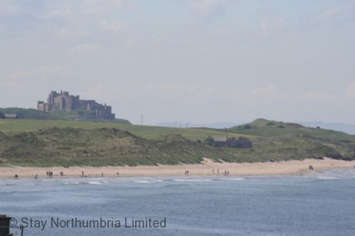 Two miles north along the beach is Bamburgh Castle