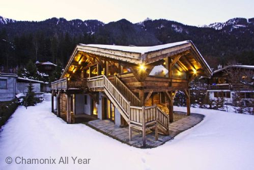 Winter exterior shot of the chalet