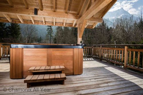 Terrace with hot tub and mountain view