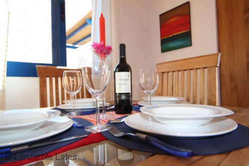 View of the dining table in Casa Clara in Playa Blanca