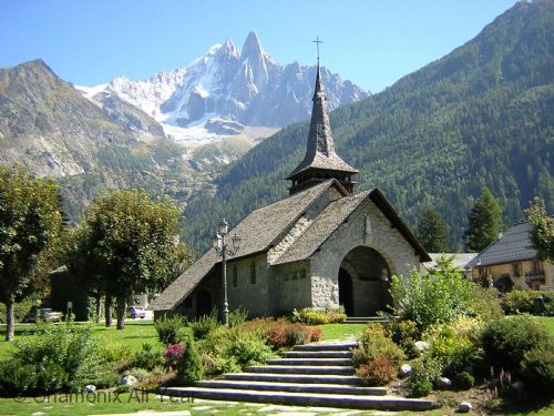 Local Les Praz church with mountain views