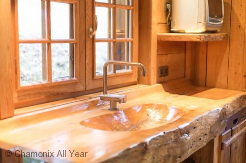 Hand crafted designer wooden sink