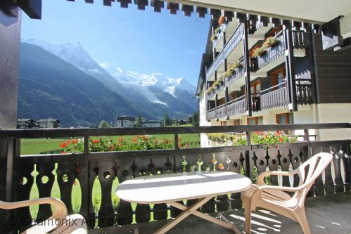 Summer, sunny balcony which faces Mont Blanc