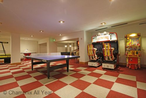 Games room with pool table, table tennis, football & video games