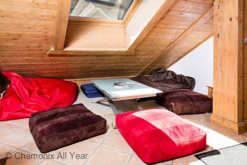 Snug with bean bags to chill out under the eaves