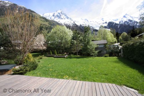 View of Mont Blanc and garden in summer