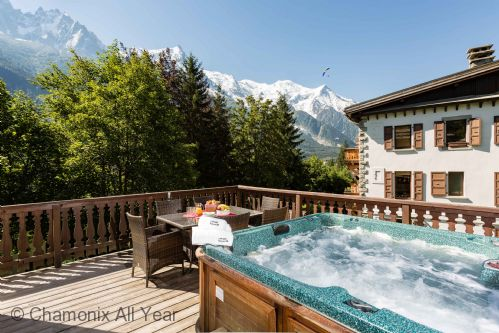 Large terrace with hot tub