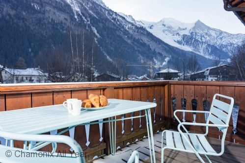 Private balcony off master bedroom, Mont Blanc views