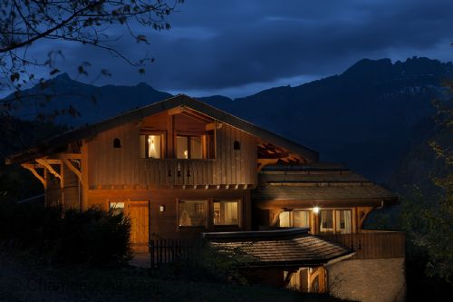Chalet Jean exterior at night
