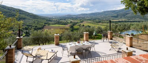 The terrace , pool and the magnifent views of the family villa