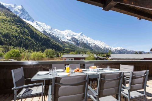Sunny terrace with Mont Blanc views perfect for alfresco dining