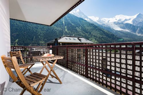 The wraparound balcony has stunning views of Mont Blanc