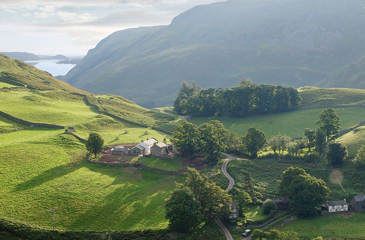 Ariel view of Hause Hall Farm & The Cruick Barn with Ullswater in the distance