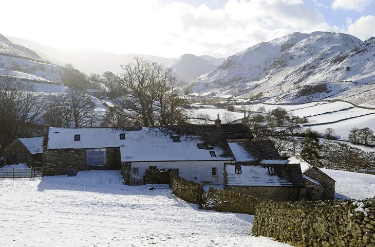 Hause Hall and Cruik Barn in the snow