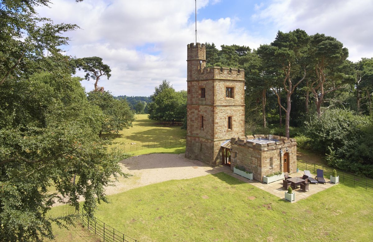 The Knoll Tower, built circa 1865, is located in the midst of the ancient and historic park of Weston Park, with panoramic views of the Shropshire countryside and Welsh borders