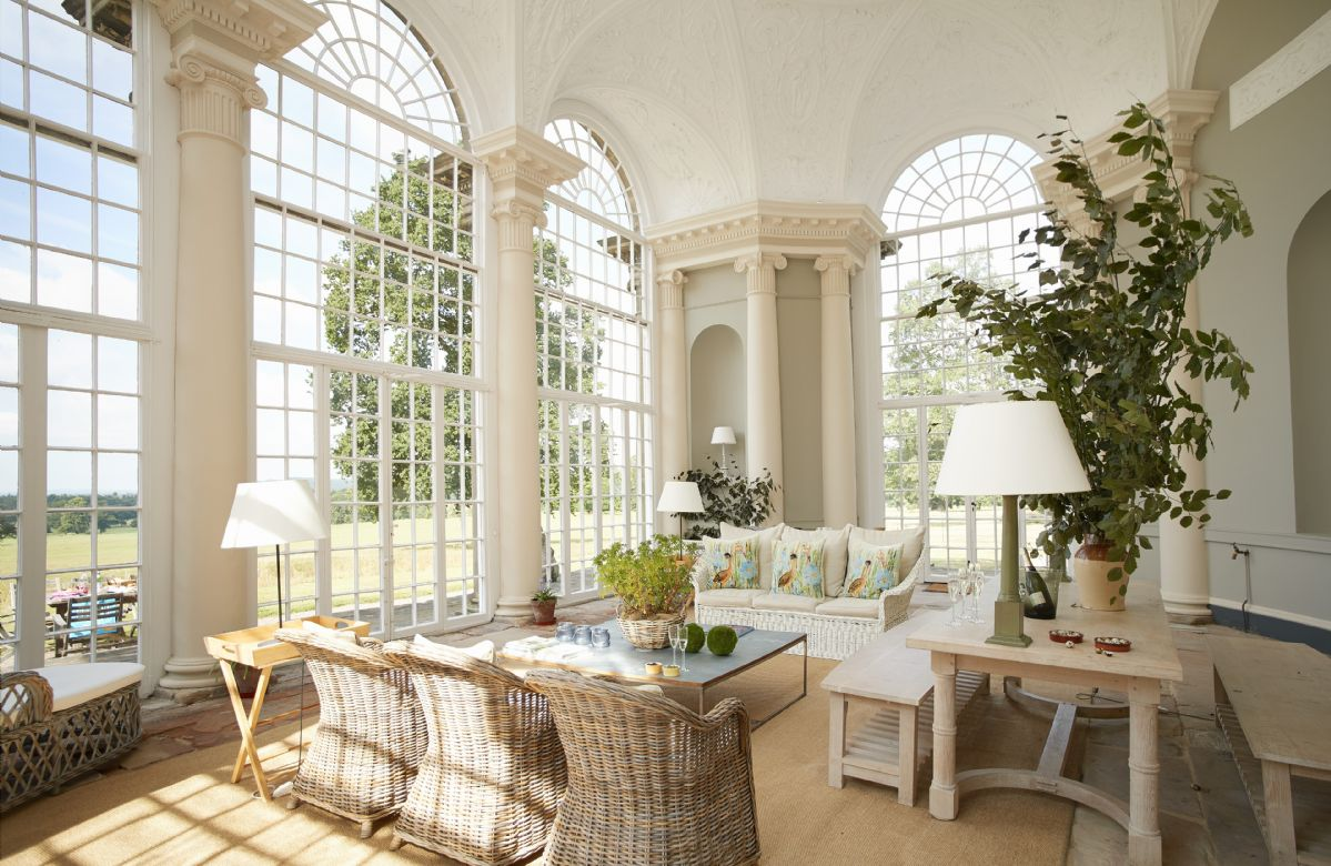 Ground floor:  The beautiful, three bay glazed orangery with stunning views over the parkland