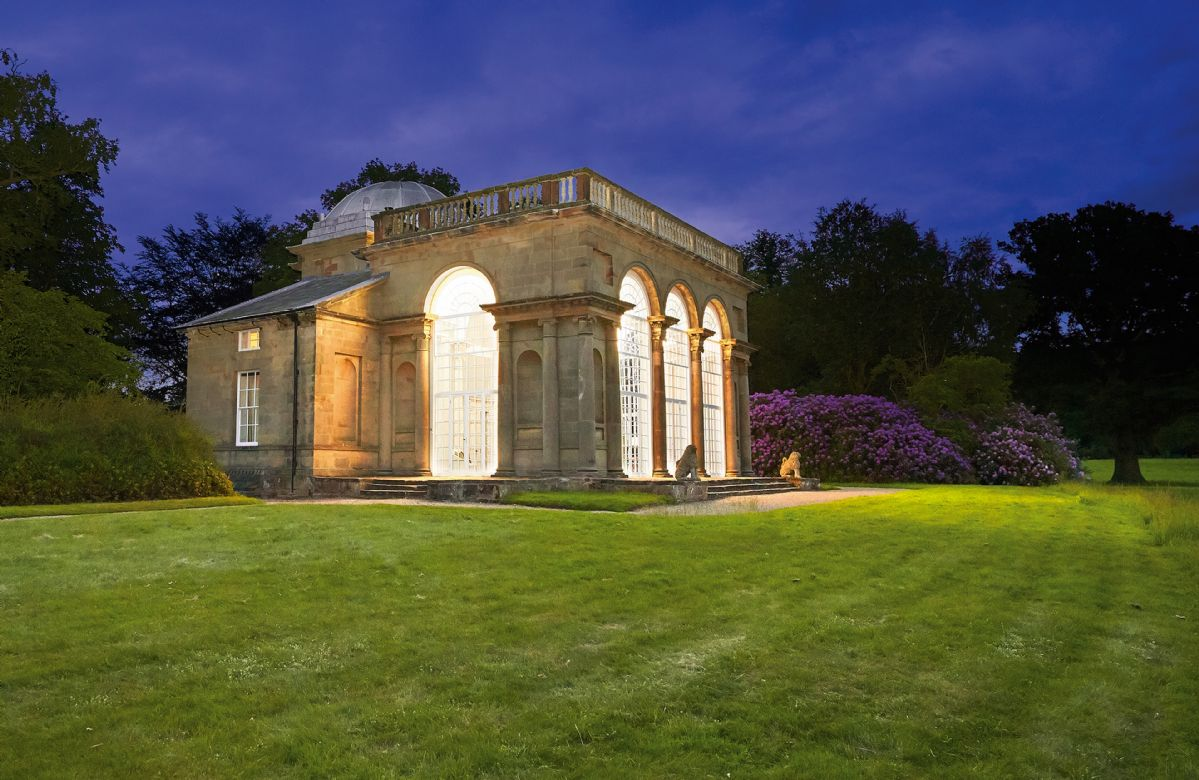 Temple of Diana at Weston Park by nightfall