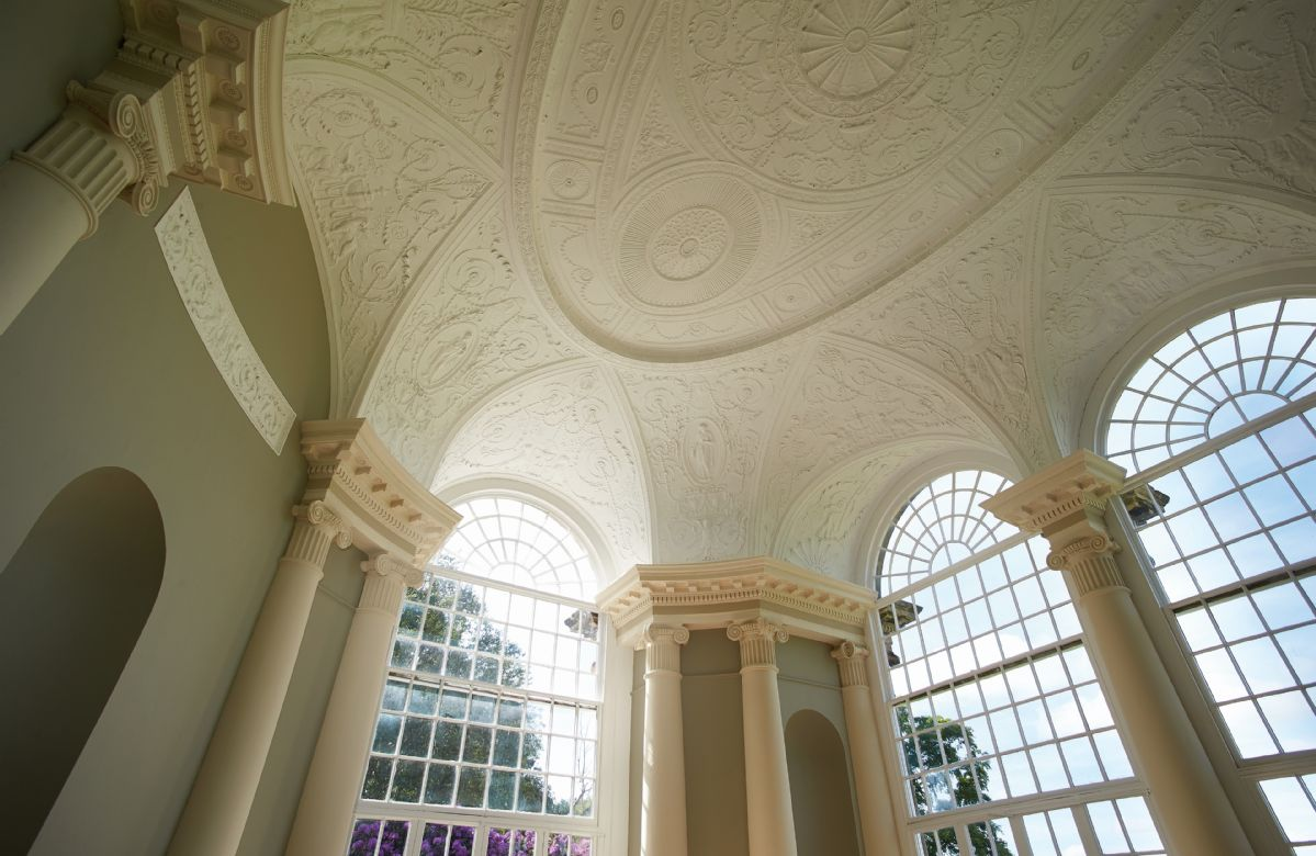 The stunning, ornate ceiling in the Orangery